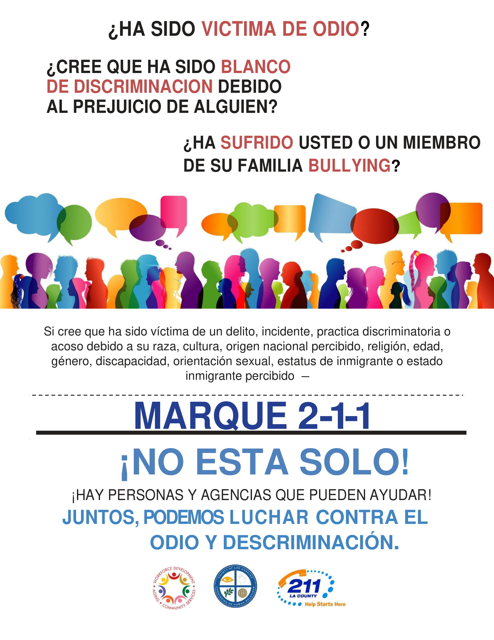 report hate flyer image in spanish