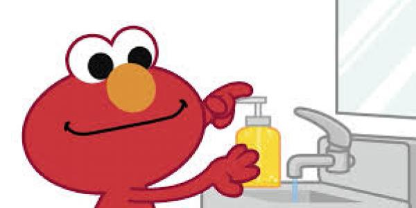 Elmo washing hands