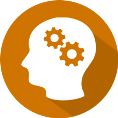 Icon for education of human head with brain symbolized by gears turning